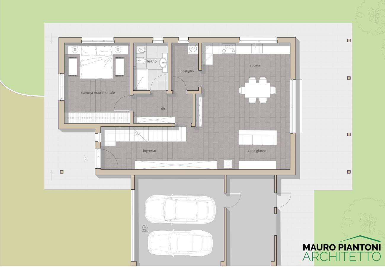 Progetto villetta un piano - Pianta casa bifamiliare ...