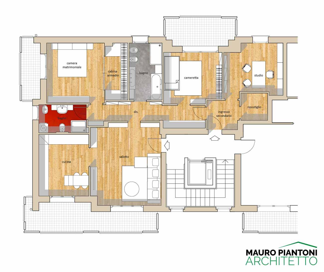 Interni casa stefano longetti arredamenti interni for Casa moderna pianta